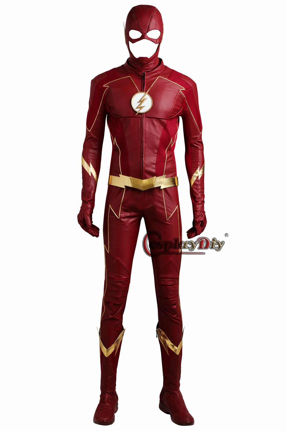 <font><b>The</b></font> <font><b>Flash</b></font> <font><b>Cosplay</b></font> Costume Barry Allen Suit Male <font><b>The</b></font> <font><b>Flash</b></font> Season 4 Barry Allen Costume Superhero Outfit <font><b>With</b></font> <font><b>Boots</b></font> Adult Men image