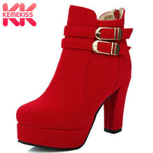 KemeKiss Size 32-43 Kantoor Dames Hoge Hak Laarzen Vrouwen Platform Ankel Riem Dikke Hakken Boot Party Dating Winter warme Zachte Schoen(China)