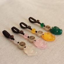 цены на Key ring Wang Taohua transport small fox mobile phone chain pendant Natural agate chalcedony U disk pendant female coin purse ha  в интернет-магазинах