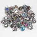 10 pçs/lote Mix de Alta Qualidade Muitos Estilos de Strass Encanto do Metal 18mm Botão Snap Pulseira Para as mulheres DIY Botão Snap jóias