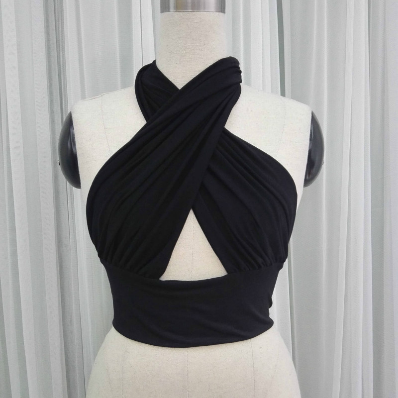 Black Cross U-neck Halter Sleek Wrap Chest Strap Sleeveless Short Tank Tops Hot Girl Vest Cropped Fashion Summer Crop Top Sexy