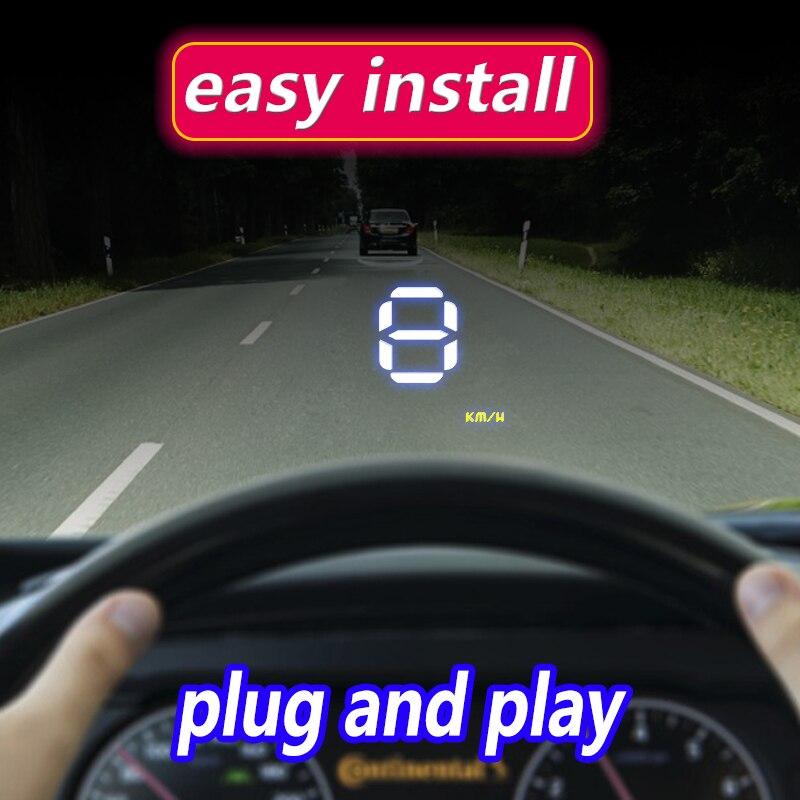 A1000 Günstigste Auto Head Up Display OBD2 II EUOBD Überdrehzahl Warnung System Projektor Windschutzscheibe Auto Spannung Alarm