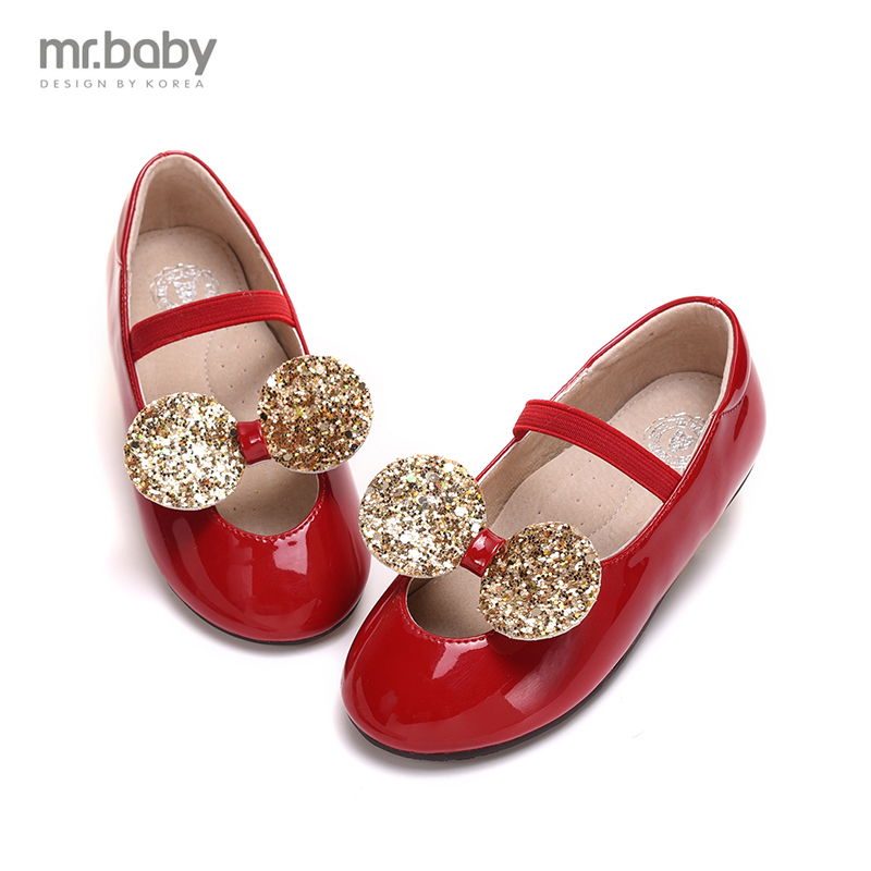 Mr.baby Han spring new girls shoes sequined Bow Shoes children shoes Princess