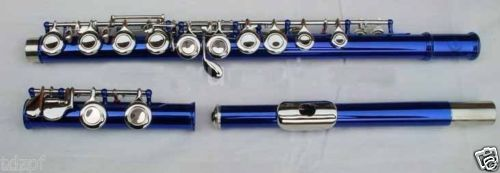 NEW Metal blue CONCERT FLUTE Closed hole Ckey+E 16 magnum live in concert
