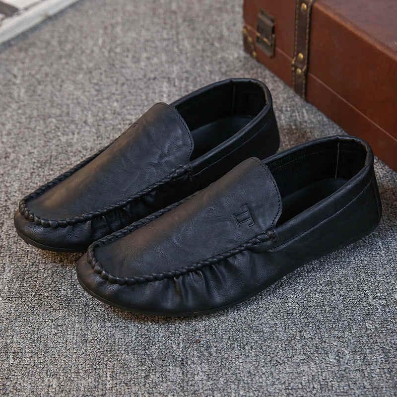 ผู้ชายสบายๆรองเท้าผู้ชายรองเท้าหนังแท้รองเท้าหนัง pu รองเท้าสบายรองเท้าส้นเตี้ยรองเท้าผู้ชายลื่นขี้เกียจรองเท้า Zapatos Hombre