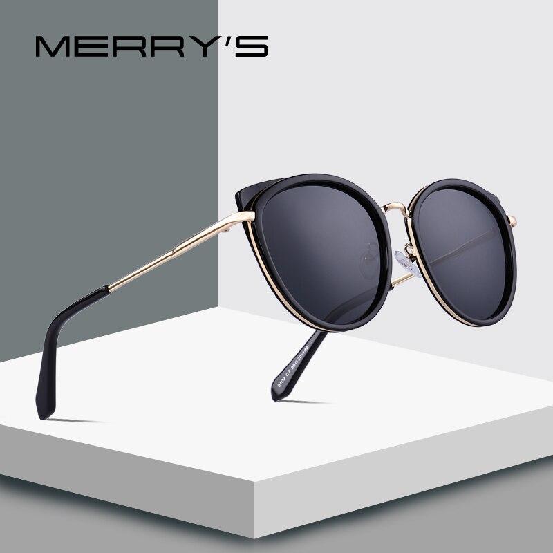 Óculos de Sol Merrys Design Feminino Gato Olho Senhoras Moda Polarizado Metal Templo Uv400 Proteção S6227