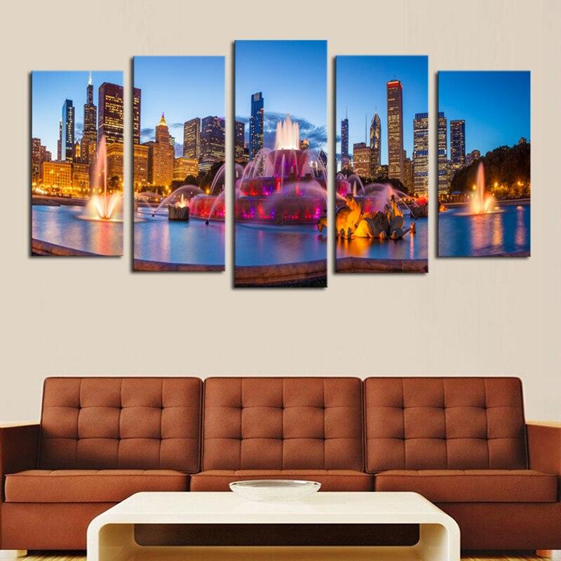 ჱ5 paneles (sin Marcos) modernchicago nightscape lienzo de pintura ...