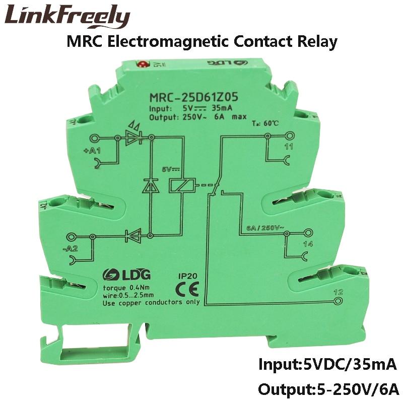 MRC-25D61Z05 10pcs 5V DC Smart LED PLC Programmable Module Relay Switch Board 6A 250VAC/DC Ouput Coil Voltage Din Rail