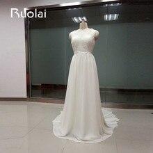 Simple Cheap Wedding Dresses 2017 V-Neck Lace Top Chiffon A-Line Wedding Dresses Long Bridal Gown Robe de Mariage FW42