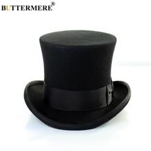 BUTTERMERE Fedora Hat Men Top Black Women Wool Magician Sherlock British Style Solid Brand High Quality Cap 18cm