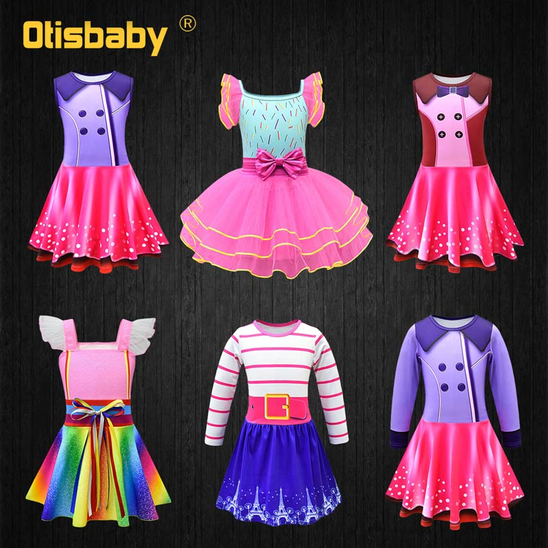 2019 NEW Beautiful Girl Princess Rainbow Fancy Nancy Cosplay Costume Summer Infant Ball Gown Birthday Party Kids Prom Dress