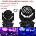 2в1 Flightcase Pack 36X15 Вт Zoom Led Moving Head Light RGBWA 5 видов цветов Led Moving Head Wash Effect Lights с 16 DMX Channel