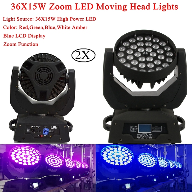 2IN1 Flightcase Pack 36X15W Zoom Led Moving Head Light RGBWA 5 Colors Led Moving Head Wash Effect Lights With 16 DMX Channel