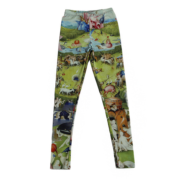 Fashion Women Tiny People Painting Print Leggings Slim Fit Thin Elastic Polyester Party Pants Casual Trousers Drop Shipping