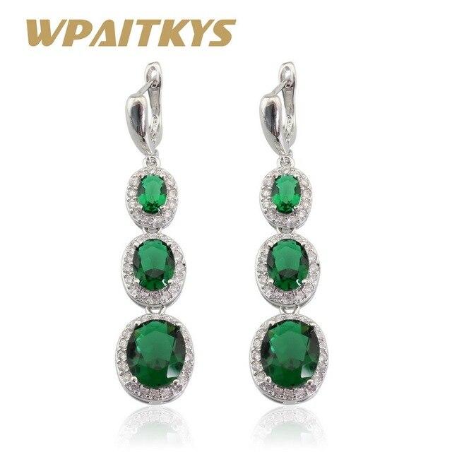 Clic Green Stones White Cz Silver Color Jewelry Women Long Drop Earring Free Box Christmas Gift