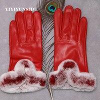 Rex Fur Gloves For Women Genuine Leather Black Red Autumn Winter Accessories Warm Mittens Solid Warm