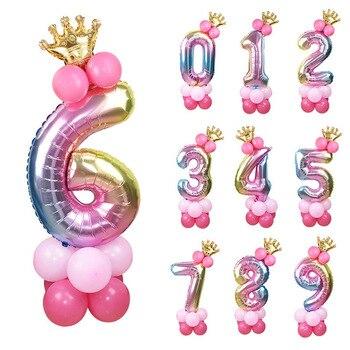 13 unids/set de globos de cumpleaños, número de arco iris, globos de aluminio para niños, decoraciones para 1ª fiesta de cumpleaños, globos de feliz cumpleaños