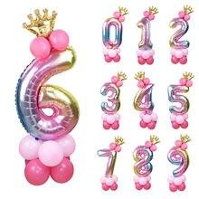 13 шт/компл шары на день рождения радужные с номером Фольга