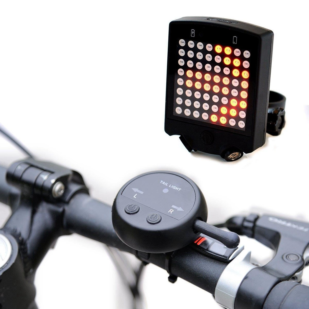 64 LED Laser Bicycle Rear Tail Light USB Rechargeable With Wireless Remote Bike Turn Signals Safety Warning Light Cycling