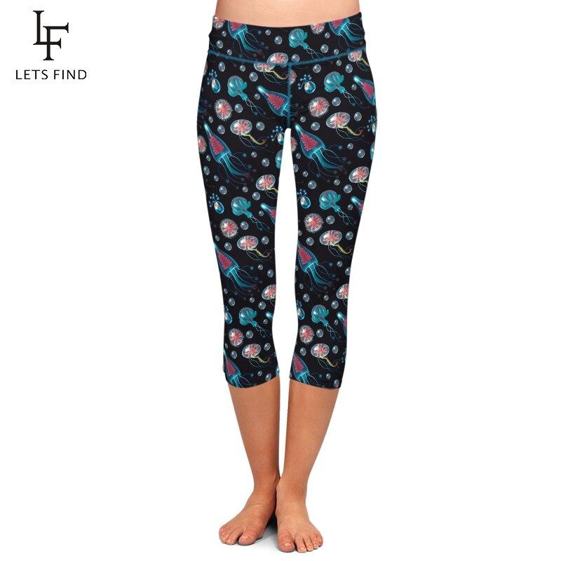 Summer New High Waist Women Black Capri Leggings Jellyfish Print Elastic Plus Size Mid-Calf 3/4 Stretch Casual Leggings