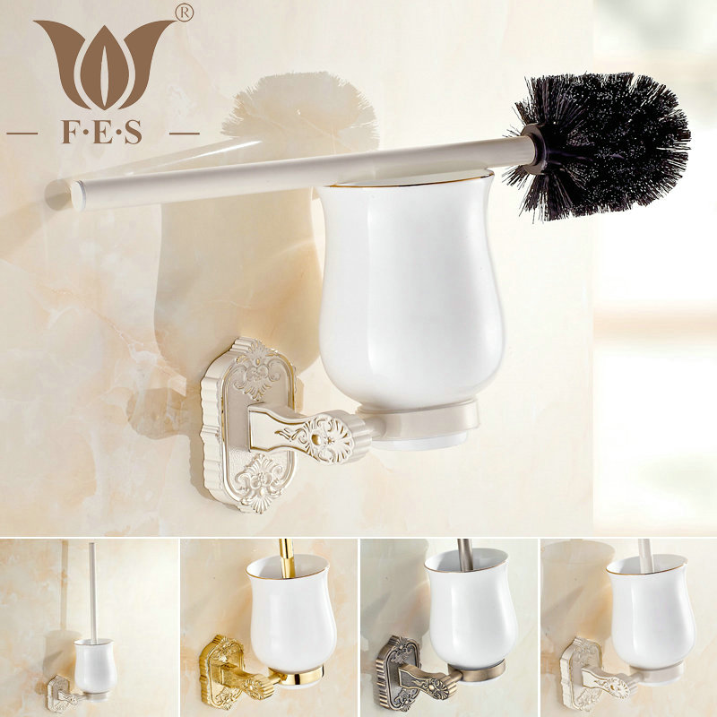 White Golden Polish Antique Bronze Brass Toilet Brush Holders Bathroom Accessories Ceramic Cup Sanitary Wares Toilet
