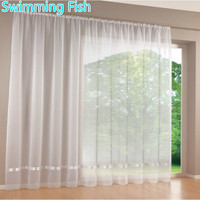 Quality White All Match Window Screens Curtain Tulle Sheet Curtian Solid Voile Curtain With Multicolor Ribbon