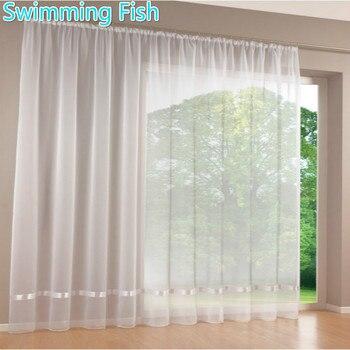 Putih All-Match Tipis Tirai Jendela Jendela Tirai Tulle Solid Voile Tirai dengan Pita untuk Kamar 295 Cm Tinggi Max
