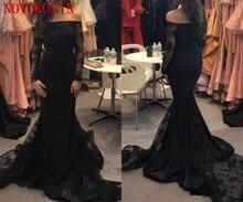Черное платье Русалочки для выпускного вечера с открытыми плечами