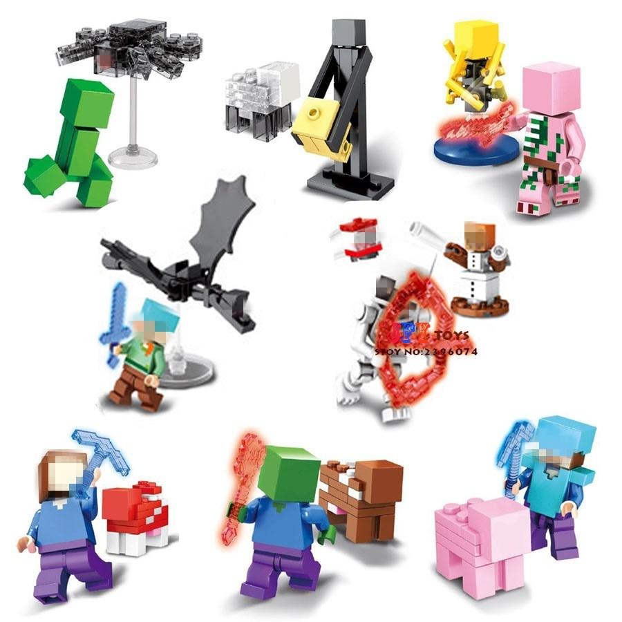 8pcs star wars Game Catoon Zombie Sheleton Creeper building blocks model bricks Baby toys for children juguetes