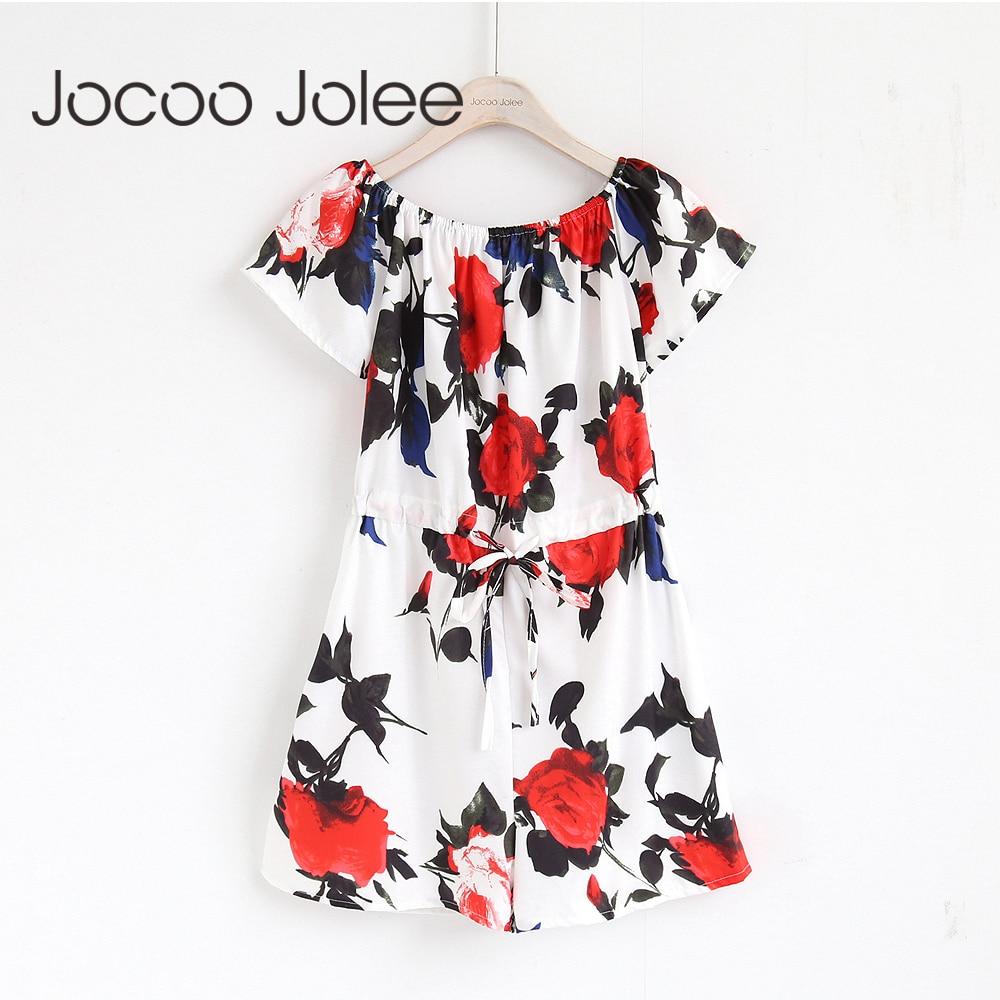 Jocoo Jolee Sexy Off Shoulder Ruffles Playsuit Boho Floral Print Sweet Rompers Jumpsuits 2018 Casual Beachwear Overalls Playsuit