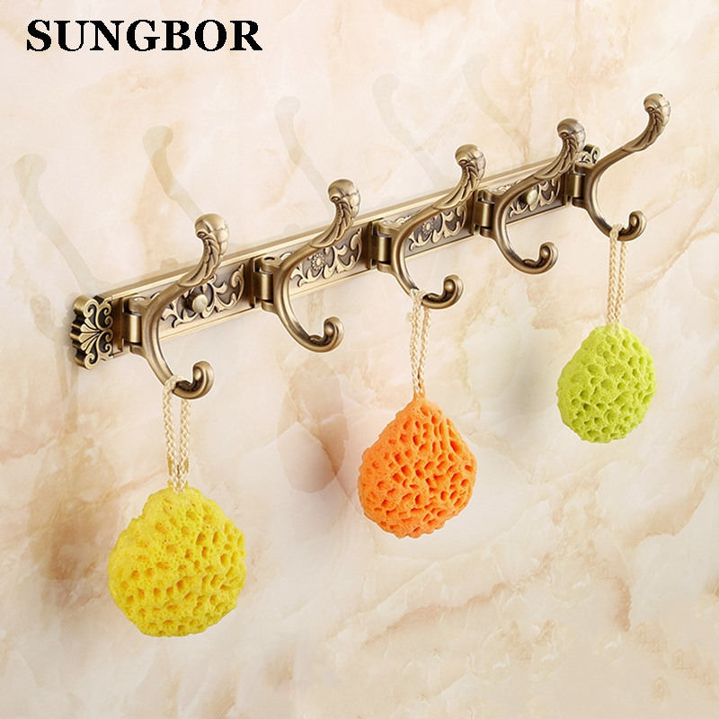 Free Shipping Bathroom wall Carving Antique robe hooks 4 6 Row Hook coat hanger door hooks for bathroom accessories MEN 445F in Robe Hooks from Home Improvement