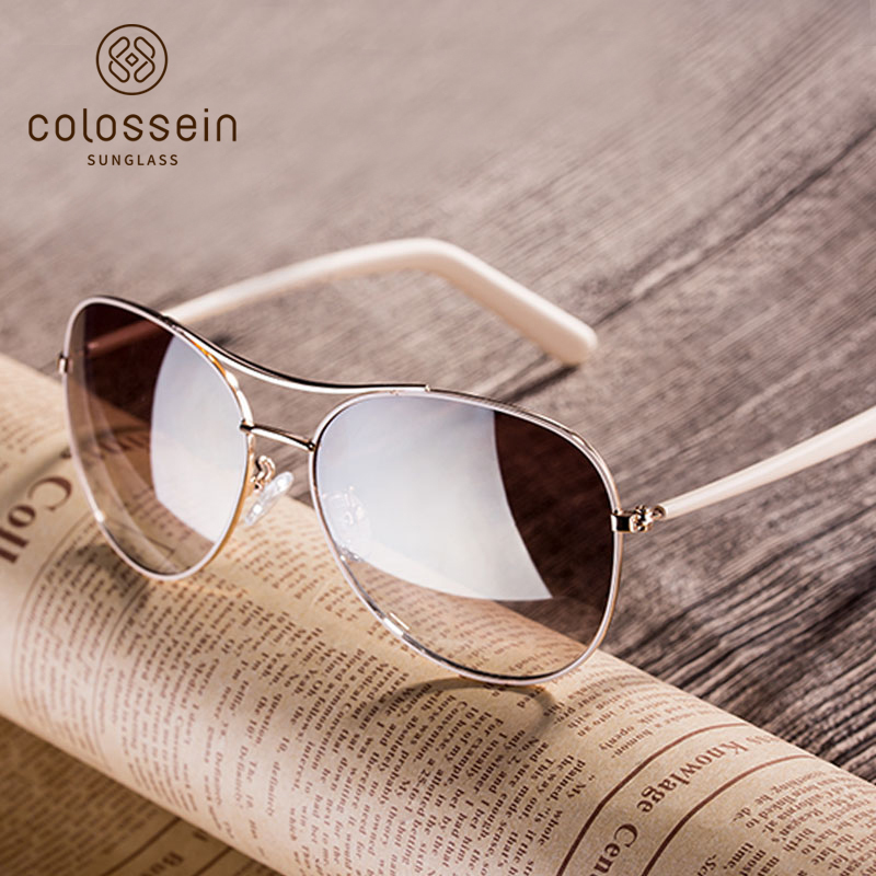 COLOSSEIN Fashion Sunglasses Women Style Light Gold Frame Classic Fishing Females Glasses 2018 Summer For Women Outdoor Eyewear