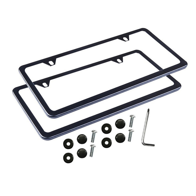 2pcs Car Stainless Steel License Plate Frames With Bolts Washer Caps 2 Holes Slim Metal Frame For Us Standard