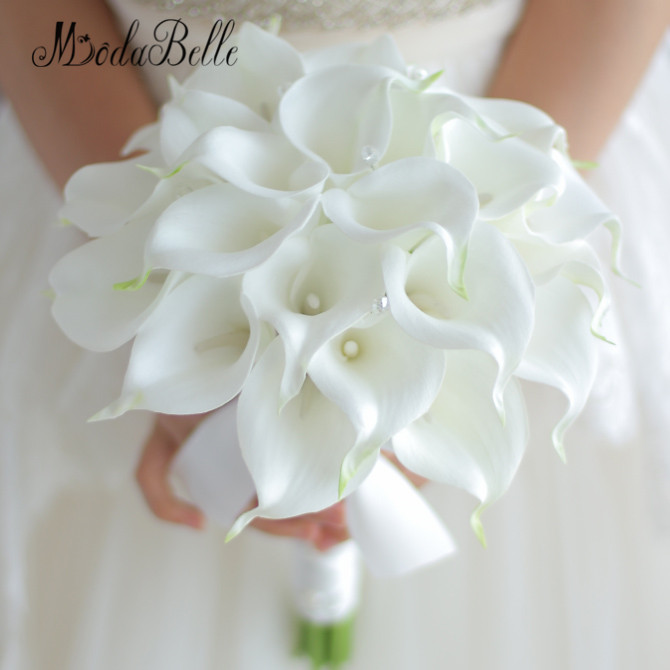 Vintage 2017 Custom White Calla Lily Bouquet Crystal Hand Bridal Flowers Artificial Wedding Bouquets Decor