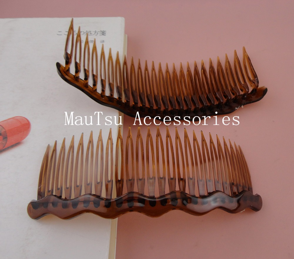 10PCS 5.0cm*12.5cm 24teeth Transparent Dark brown Plain Plastic Hair Combs big Waved Bar as diy hair accessories,side comb clear