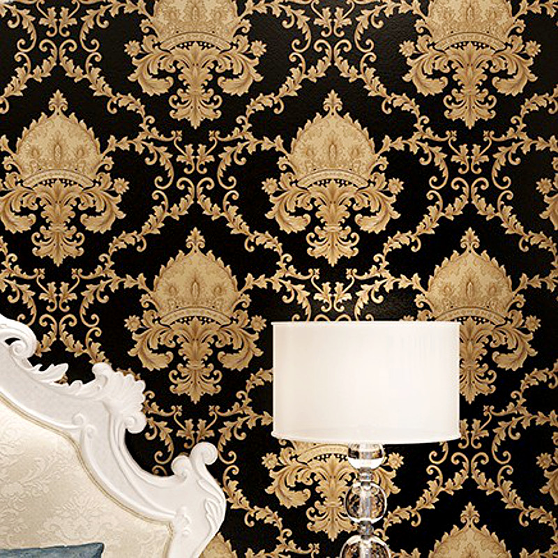 Popular black and gold damask wallpaper buy cheap black for Cheap black wallpaper