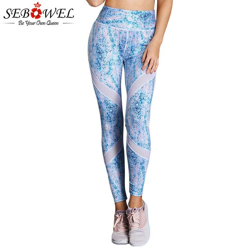 SEBOWEL Blue Scrawl Print High Waist Yoga Leggings Women Sexy Elastic Fitness Gym Active Pants Female Sport Running Trousers active blue random print yoga leggings