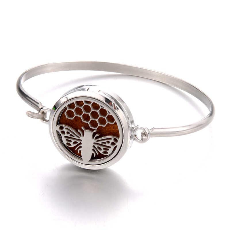 Pulsera de aromaterapia de acero inoxidable de abeja de trabajo duro pulsera difusora de aceites esenciales pulsera de mujer joyería de moda