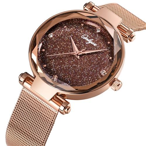ONLYOU Elegant Women Watches Top Brand Luxury Ladies Wristwatch Rosegold Mesh Steel Jewelry Watch Female Clock Christmas Gifts Karachi