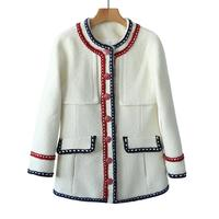 Brand fashion women's luxury spring elegant ladies temperament white Slim tweed Wool short jacket Coat female