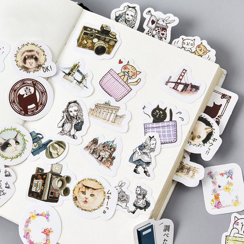 45 pcs/lot (1 bag) Cute Cartoon Cat Diary Stickers Kawaii Alice Decorative Sticky Paper For Stationery Decoration Free Shipping cute kawaii cartoon animal stickers creative fruit vegetables sticky paper for scrapbooking diary free shipping 994