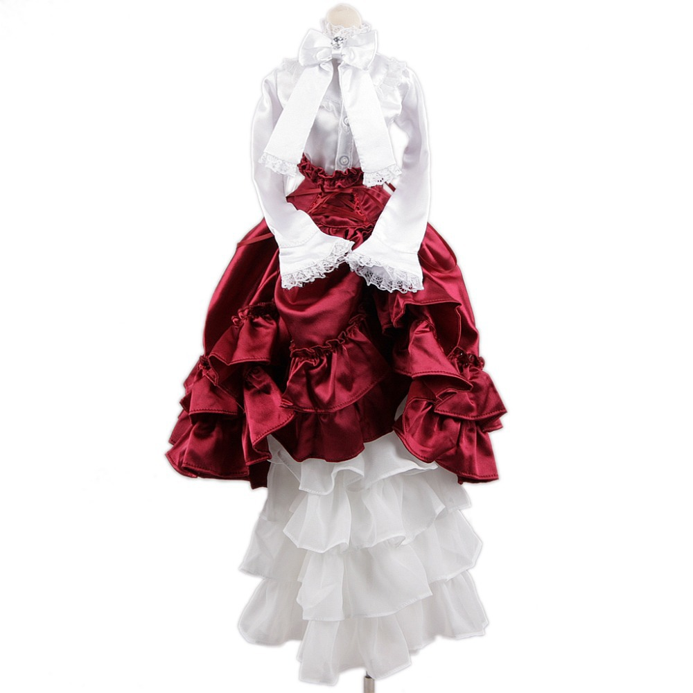 [wamami] 109# White-Red Dress/Clothes/Suit For 1/4 MSD DOD AOD BJD Doll