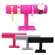 1PCS Black Velvet font b Bracelet b font Chain Watch T Bar Rack Jewelry Display Stand
