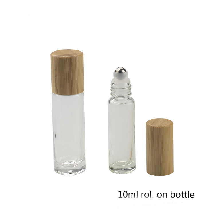10ML 20pcs/50pcs/lot Empty Portablle Travel Glass Roll on Perfume Bottle,Bamboo Cap Cosmetic Essential Oil Beauty Roll on Vials 100pcs lot high quality 10ml thick glass roll on bottle empty perfume essential oil vials with stainless steel roller ball