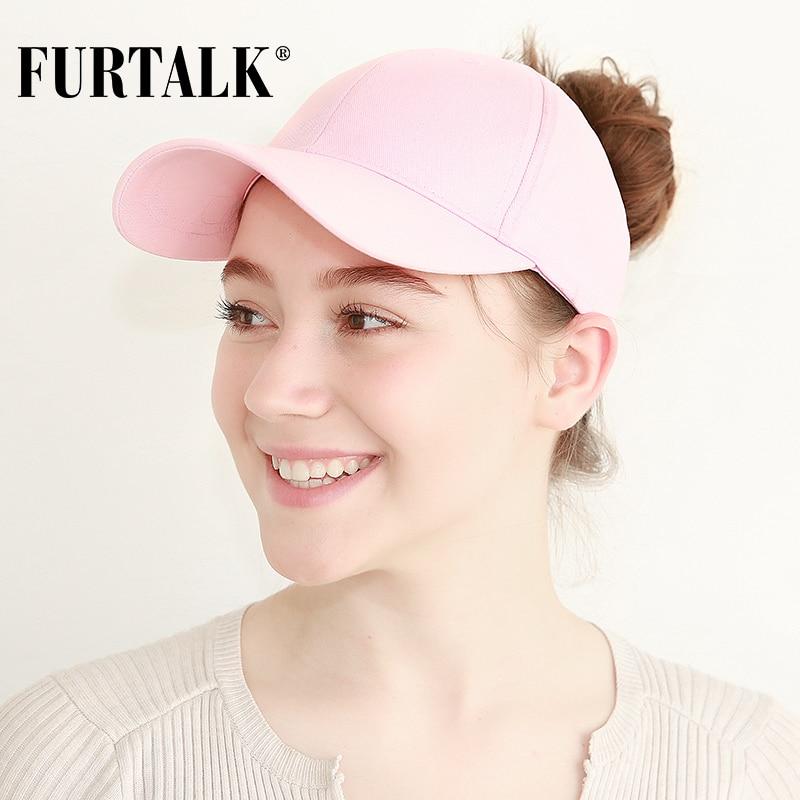 FURTALK New Arrivals Ponytail Baseball Cap Women Messy Bun Baseball Hat Snapback HTPU007 1