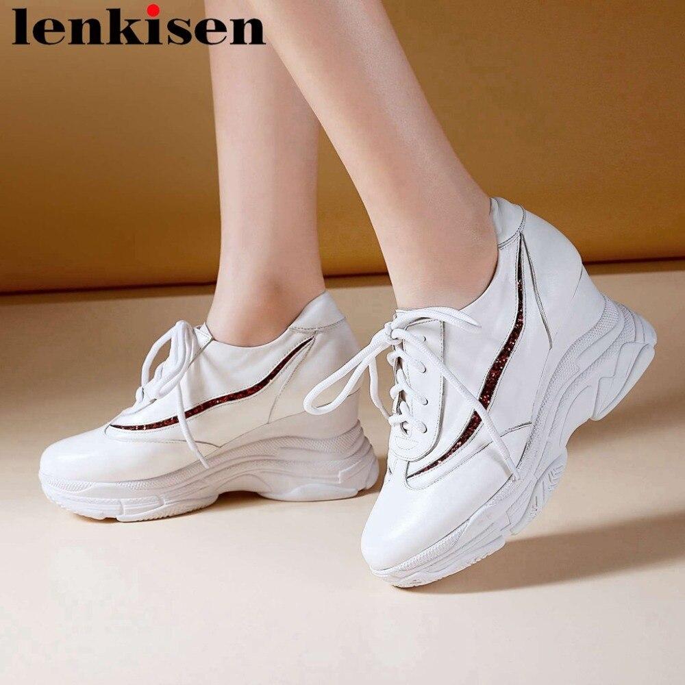 Rond Sneakers 2019 Plate forme Bout Véritable La Fond Épais Femme Chaussures En Dentelle Plus Jusqu'à Blanc Vulcanisé Cuir Chaude Taille Haute L3f2 bfgY76y