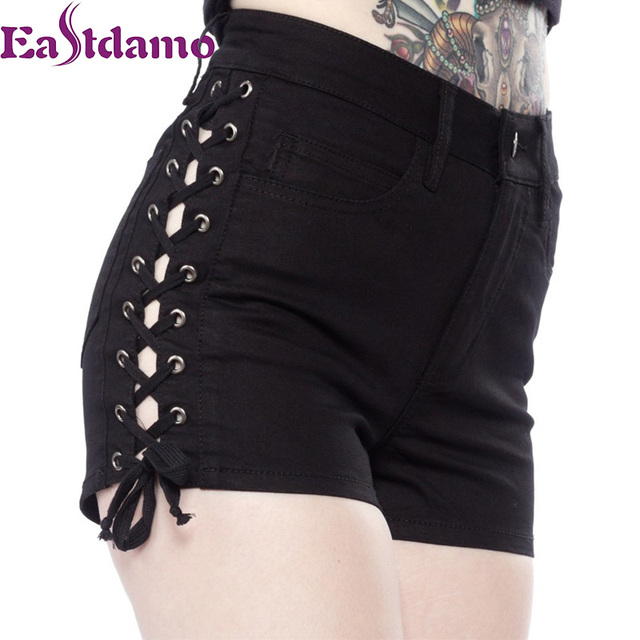 0f6276a01 Eastdamo Fashion Shorts Women Sexy Side Lace Up Shorts High Waist Denim  Shorts Plus Size Bandage Short Jeans Black White Shorts