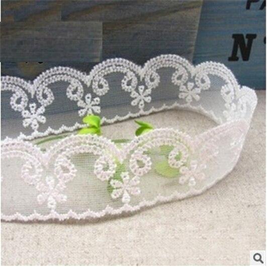 Breite 30mm Blume Spitze Trim Perle Stickerei Nahen Stoff Band Diy