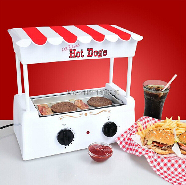 Multifunction hot dog sausage roller grill cooker machine - Hot dog roller grill with bun warmer ...