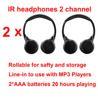 Infrared Stereo Headphones Earphones Wireless IR in Car roof dvd or headsets dvd Player two channels